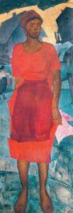 5. Ionin N.A. ZHenshhina v krasnom.1925 GRM 103x300 - Жены. Музей русского импрессионизма